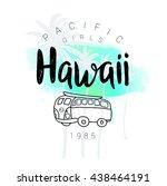 vintage watercolor surf print... | Shutterstock .eps vector #438464191