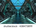 sci fi grunge metallic blue... | Shutterstock . vector #438473899