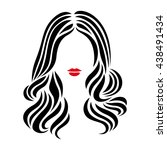 hairstyle sign. beautiful woman ... | Shutterstock .eps vector #438491434
