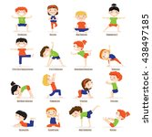 cute children boys and girls in ... | Shutterstock .eps vector #438497185
