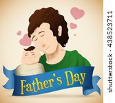 loving dad with his newborn... | Shutterstock .eps vector #438523711
