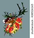 reindeer in wild flower | Shutterstock . vector #438526165