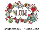 welcome hand drawn doodle... | Shutterstock .eps vector #438562255