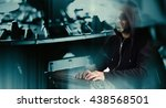 cyber thief hacking computer... | Shutterstock . vector #438568501