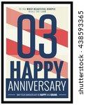 03 years happy anniversary ... | Shutterstock .eps vector #438593365