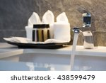 close up of white porcelain... | Shutterstock . vector #438599479