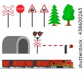railroad traffic way and train... | Shutterstock .eps vector #438600265