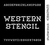 western stencil alphabet vector ... | Shutterstock .eps vector #438609655