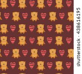 seamless pattern with teddy... | Shutterstock .eps vector #438616195