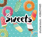 poster design with colorful... | Shutterstock .eps vector #438659485