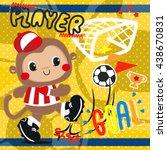 Cartoon Baby Monkey In Soccer...