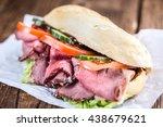 roast beef sandwich  close up... | Shutterstock . vector #438679621