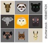 animals color flat set | Shutterstock .eps vector #438687424