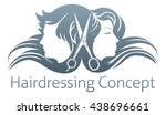 a man and woman and hairdresser ... | Shutterstock .eps vector #438696661