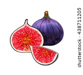 black figs. whole figs with... | Shutterstock .eps vector #438711205
