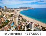 benidorm beach aerial skyline... | Shutterstock . vector #438720079