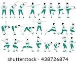 set of woman doing fitness... | Shutterstock .eps vector #438726874
