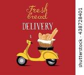 fresh bread delivery motorbike... | Shutterstock .eps vector #438728401