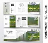 vector set of tri fold... | Shutterstock .eps vector #438733681