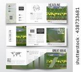 vector set of tri fold... | Shutterstock .eps vector #438733681