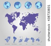 world map with globes detailed... | Shutterstock .eps vector #438733831