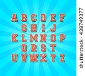 creative high detail comic font.... | Shutterstock .eps vector #438749377