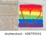 Gay Rainbow Flag And Red Heart...