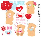 set of teddy bears with hearts. ... | Shutterstock .eps vector #438761194