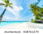 beautiful tropical maldives... | Shutterstock . vector #438761374