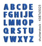 blue fabric knitted alphabet.... | Shutterstock . vector #438765025