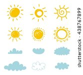 sun with cloud vector set   Shutterstock .eps vector #438767899