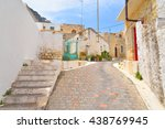 the narrow street with old... | Shutterstock . vector #438769945