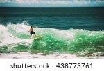 surfer riding in ocean  vintage ... | Shutterstock . vector #438773761