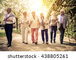 group of old people walking... | Shutterstock . vector #438805261