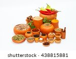 group of indian spices and... | Shutterstock . vector #438815881