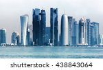 Stock photo panoramic view on financial center of doha from west bay doha is a city on the coast of the 438843064