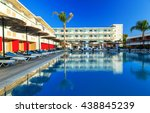 modern hotel with swimming pool ... | Shutterstock . vector #438845239