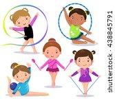 set of rhythmic gymnastics cute ... | Shutterstock .eps vector #438845791