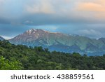 mountain with clouds at sunset | Shutterstock . vector #438859561