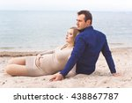 man and pregnant woman are... | Shutterstock . vector #438867787