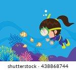scuba diving. girl swimming... | Shutterstock .eps vector #438868744