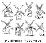windmills  vector drawing  eps... | Shutterstock .eps vector #438874501