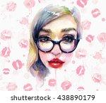 watercolor portrait of hipster... | Shutterstock . vector #438890179