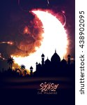eid mubarak greeting card   eid ... | Shutterstock .eps vector #438902095