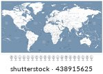 white color world map and 3d... | Shutterstock .eps vector #438915625