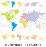world map with continnets in... | Shutterstock .eps vector #438915649