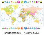 colored political world map... | Shutterstock .eps vector #438915661