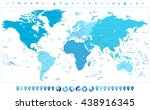 world map continents in colors... | Shutterstock .eps vector #438916345
