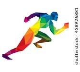 colorful polygonal running man | Shutterstock .eps vector #438926881