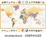 vintage color political world... | Shutterstock .eps vector #438944185